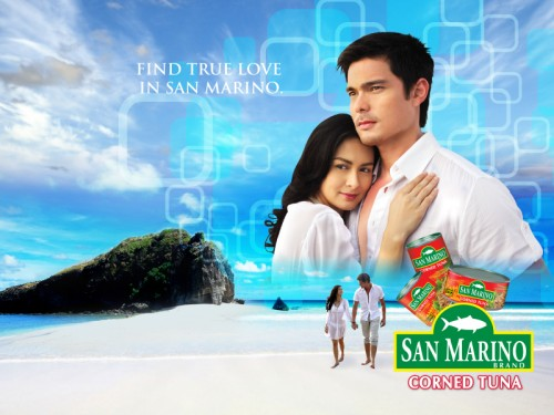 San Marino Corned Tuna Wallpaper Featuring Dingdong Dantes and Marian Rivera