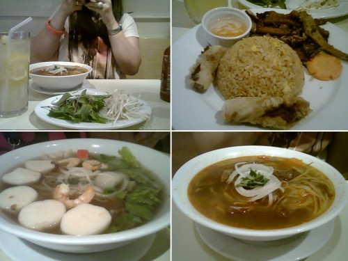 (L-R) J taking pictures, my Grilled Pork with Spring Rolls + Rice, some seafood noodles and of course, the Beef Stew.