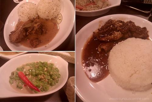 (L-R) Chicken Adobo sa Gata, GIsing-Gising and Modern Nutty Pork Adobo